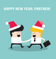 happy businessmen people shaking hands and wearing vector image