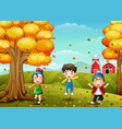 happy children playing with autumn leaves vector image vector image