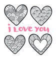 hearts set in zentangle style for coloring book vector image
