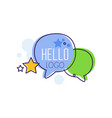 hello logo bright emblem with hello word and vector image vector image