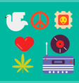 hippie symbols of peace colorful set isolated vector image