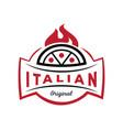italian original pizza logo on fire vector image vector image