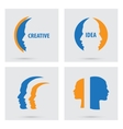 Man profile silhouette icons set isolated vector image vector image