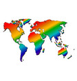 map of the world rainbow silhouette vector image vector image