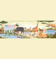natural landscape with savannah animals reptiles vector image