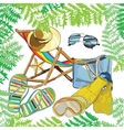 pattern summer e recliner on the sand with hat vector image vector image