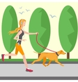 Running girl in headphones with a player vector image vector image