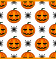 seamless pattern with halloween pumpkin and spider vector image vector image