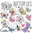 set cute cartoon butterflies vector image