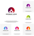 set islamic logo design mosque logo template vector image