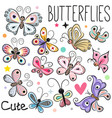 set of cute cartoon butterflies vector image vector image