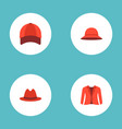 set of dress icons flat style symbols with panama vector image