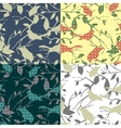 Set of four seamless patterns with birds and tree vector image vector image