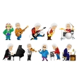 set of old man playing music vector image