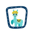 small alpaca in blue frame vector image vector image