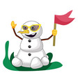 snowman with flag on white background vector image vector image