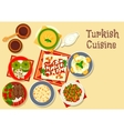 Turkish cuisine icon with grilled meat kebab vector image vector image