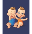twins cartoon baboys playing each other vector image