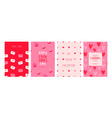 valentines day pink heart cartoon card set vector image vector image