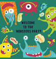 welcome to the monster party card invitation vector image vector image