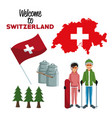 White background of welcome to switzerland with