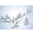 winter background children at play in snow vector image vector image