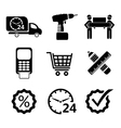 shopping icons in black vector image
