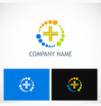 medic cross colored technology logo vector image