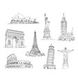 attractions of the world vector image