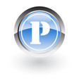 glossy icon letter p vector image