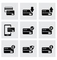 black credit card icon set vector image