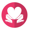 love heart with ribbon decoration shadow vector image