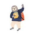animalistic childish character student carrying vector image vector image