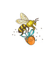 Bee Carrying Honey Pot Drawing vector image vector image
