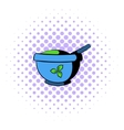Blue mortar and pestle icon comics style vector image vector image