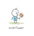 boy with a flower vector image