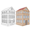 building residential house 3 floors outine and vector image vector image