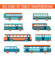 bus icons set public transportation vector image