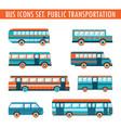 bus icons set public transportation vector image