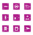 car analysis icons set grunge style vector image vector image
