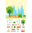cartoon urban park with bench and element set vector image vector image