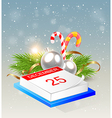 Christmas background with calendar vector image vector image