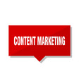 content marketing red tag vector image vector image