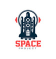 creative logo design of cosmic shuttle scientific vector image vector image