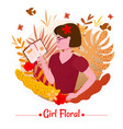 cute girl beauty with book among leaves and vector image vector image