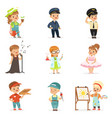 cute kids in various professions set smiling vector image