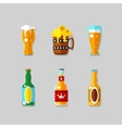 Drink flat icons Alcohol and beer bottles vector image vector image