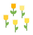 five blooming tulips icon flat isolated vector image vector image