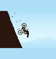 flying bicycle rider from mountain vector image vector image