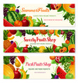 fresh fruit cartoon banner for food drink design vector image
